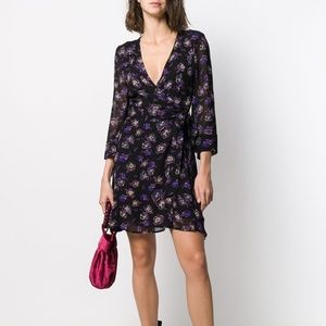 Ganni Floral Printed Georgette Mini Wrap Dress 6